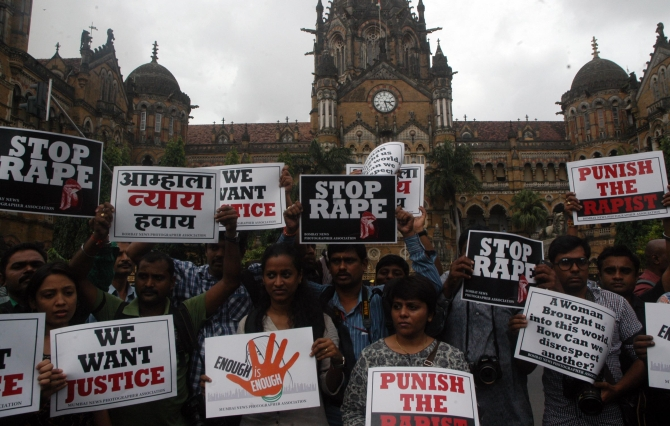 A protest against the gang rape in south Mumbai
