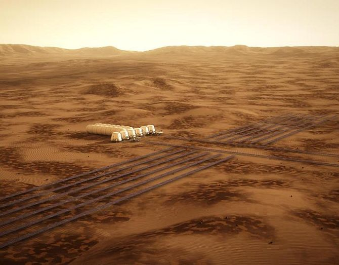 An artist's impression of the possible settlement area on Mars