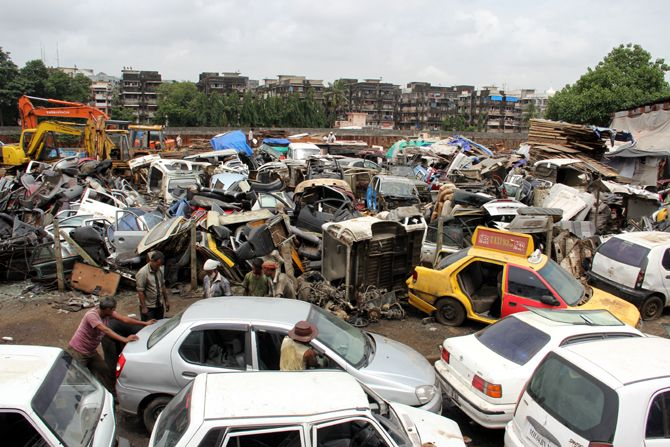 A scrap yard on the way to Bandra Kurla Complex