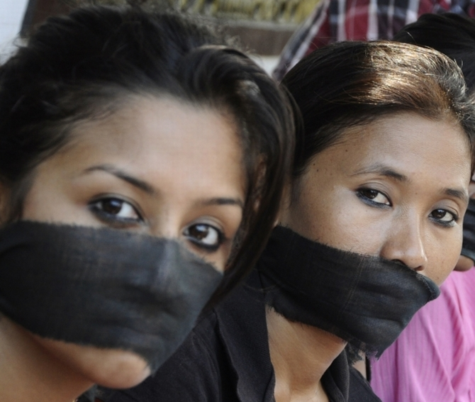 Photojournalists protest against the Mumbai gang rape in Guwahati