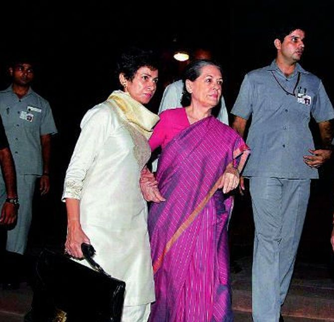 Sonia Gandhi being taken to AIIMS after she fell ill in Lok Sabha on Monday, with Kumari Selja by her side