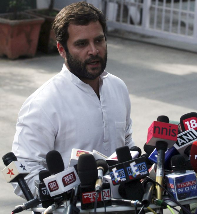 Rahul Gandhi speaks to mediapersons outside his residence in New Delhi