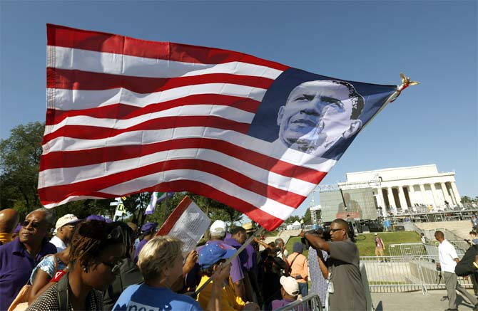 An US flag with Barack Obama's image during the 50th anniversary of the 1963 March on Washington.