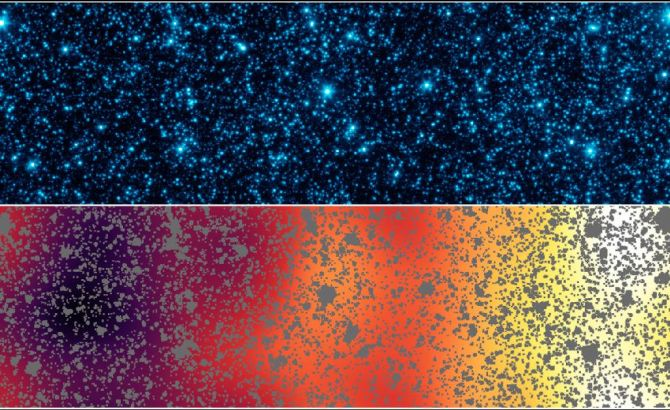 Astronomers uncovered patterns of light that appear to be from the first stars and galaxies that formed in the universe observed by NASA's Spitzer Space Telescope.