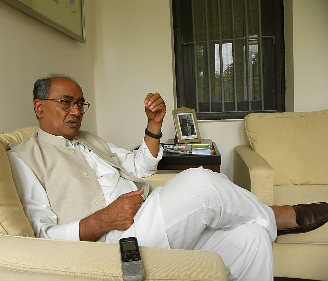Digvijaya Singh at his Delhi bungalow.