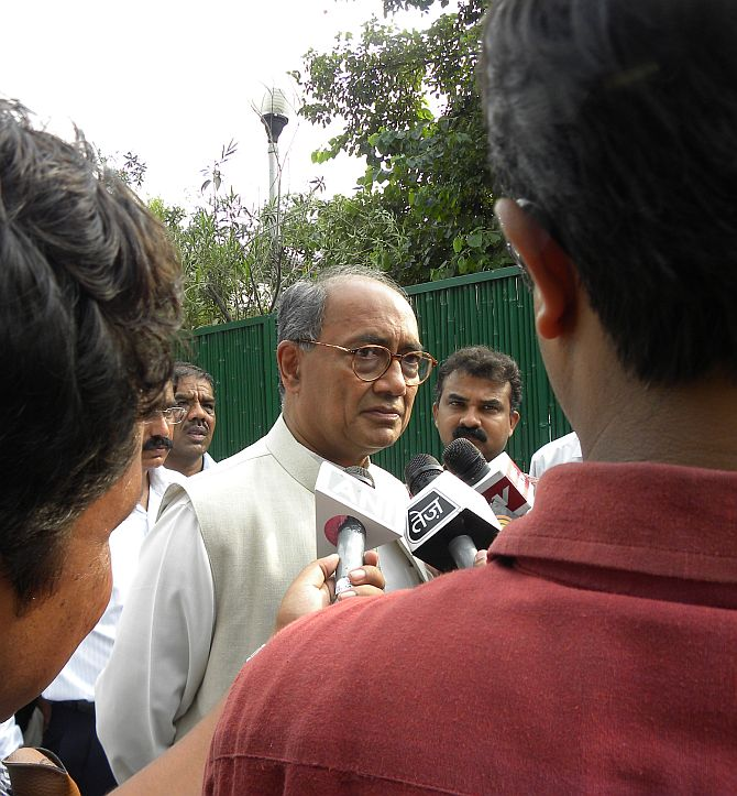 Digvijaya Singh provides his daily quota of bytes at his home.