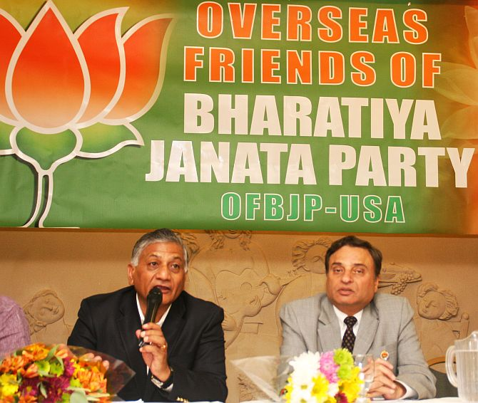 General V K Singh addresses members of the Overseas Friends of Bharatiya Janata Party in New Jersey.