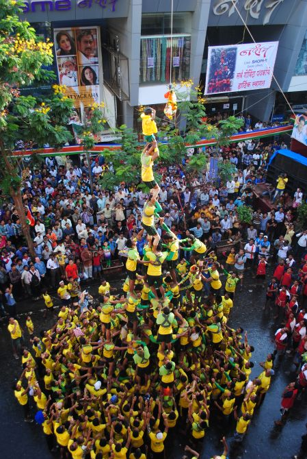 PIX: Mumbai's Govindas reach stunning heights for dahi handis