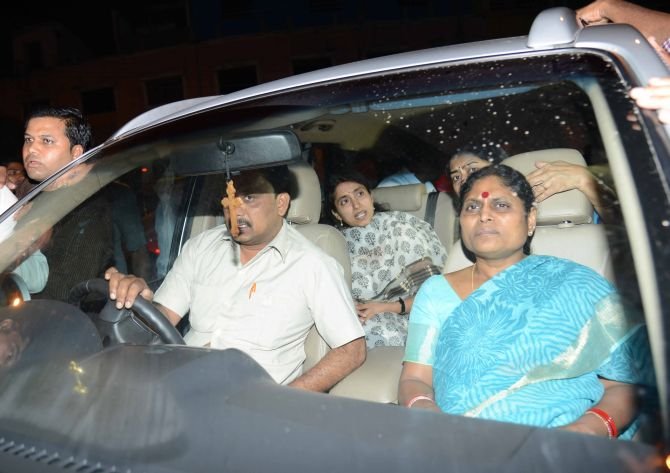 Jagan's mother and wife rush to the hospital late on Thursday night