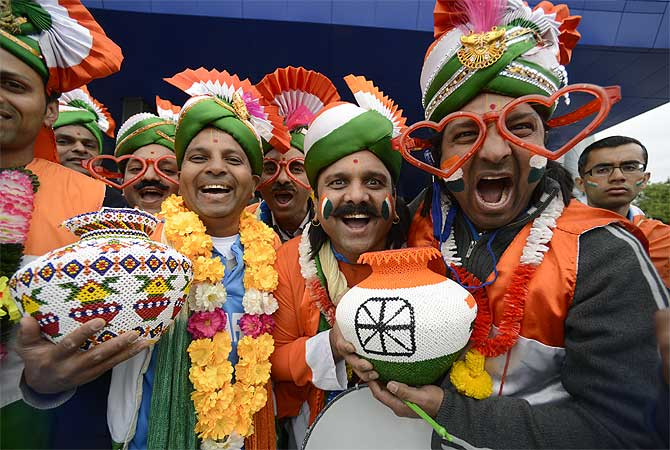 Indian fans before the Champions Trophy final between England and India in Birmingham, June 2013.
