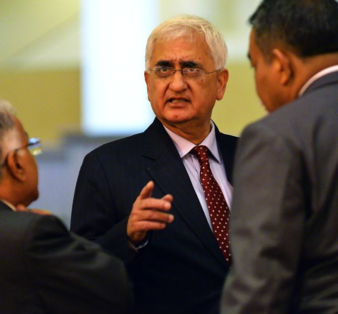 External Affairs Minister Salman Khurshid with officials.