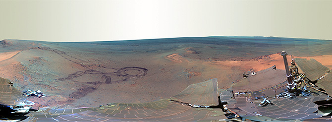 This full-circle scene combines 817 images taken by the panoramic camera on NASA's Mars Exploration Rover Opportunity on the planet Mars, as seen in this handout image from NASA