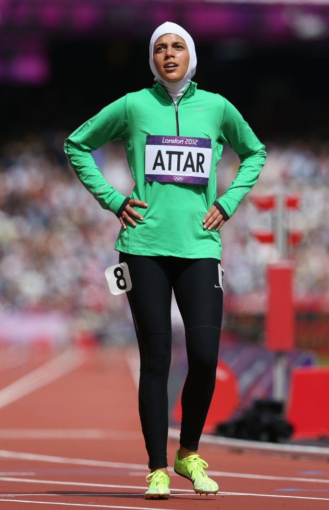 Sarah Attar of Saudi Arabia reacts after competing in the Women's 800m Round 1 Heats on Day 12 of the London 2012 Olympic Games at Olympic Stadium on August 8, 2012 in London
