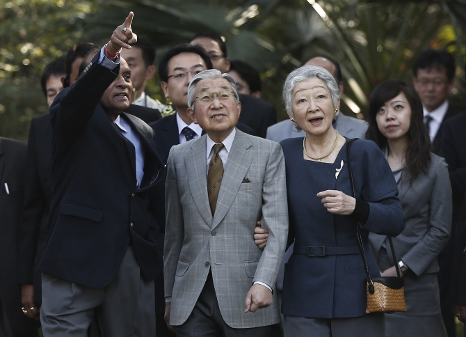 Japan's Emperor Akihito and Empress Michiko were fascinated by the trees at Lodhi Gardens