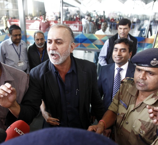 Tarun Tejpal at the Delhi airport on his way to Goa