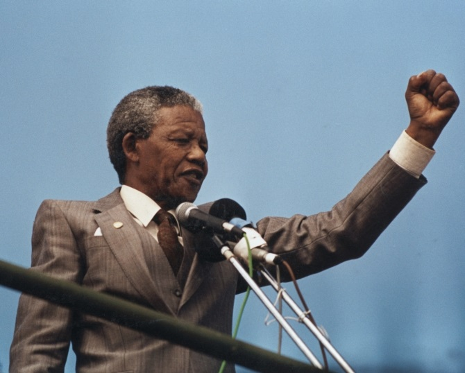 A file photograph of Nelson Mandela at Port Elizabeth, April 1, 1990.