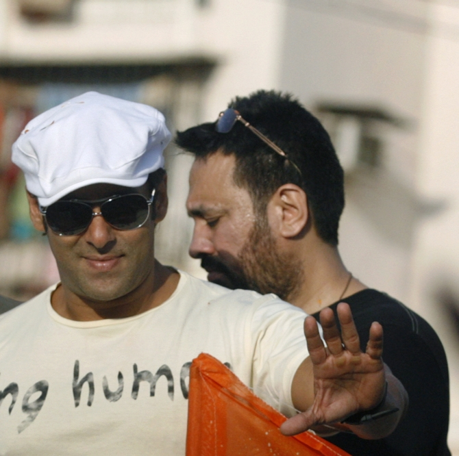Bollywood Actor Salman Khan waves to his supporters in Mumbai
