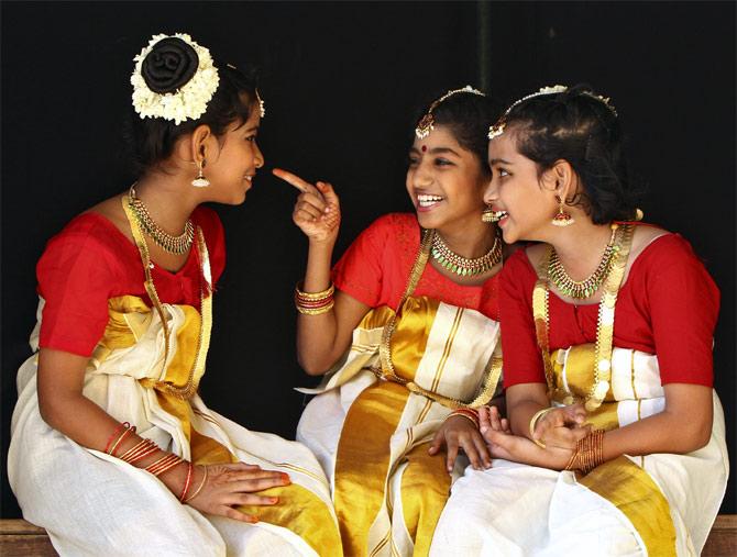 Girls wait to perform during Onam festivities in Chennai.