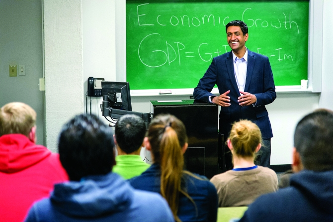 Rohit 'Ro' Khanna, the Indian-American politician seen here in a classroom session, has America buzzing with his campaign.