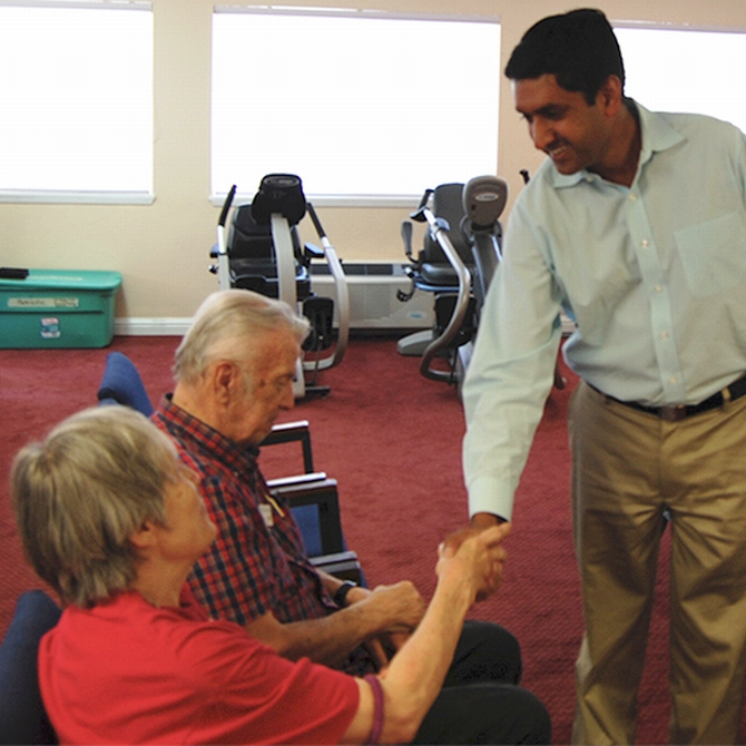 Ro Khanna at the Villa Serena Retirement community in Santa Clara, California.