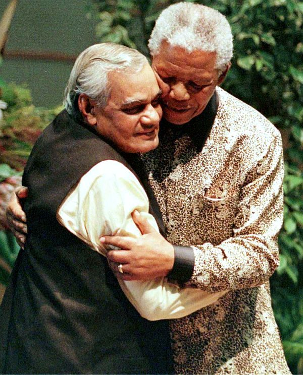 Here Mandela is seen embracing then Indian Prime Minister Atal Behari Vajpayee during the Non-Aligned Movement Summit in Durban