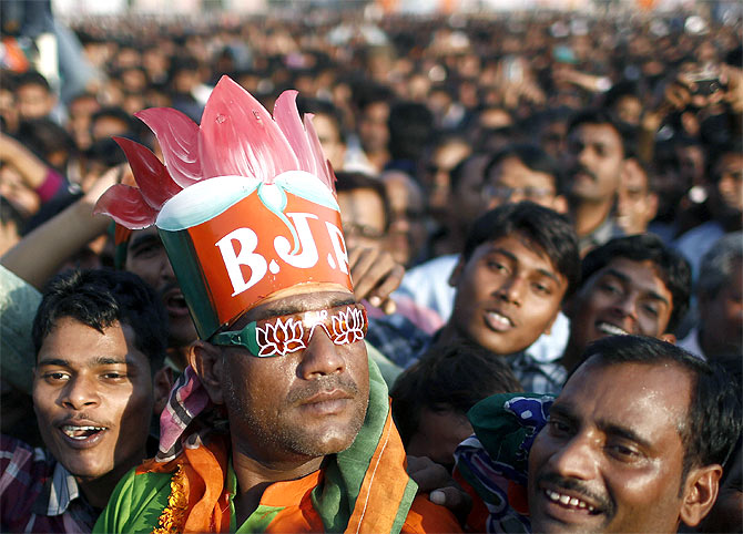 A poll campaign rally of the BJP