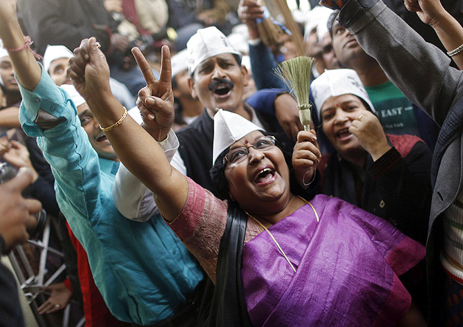 AAP workers celebrate in Delhi