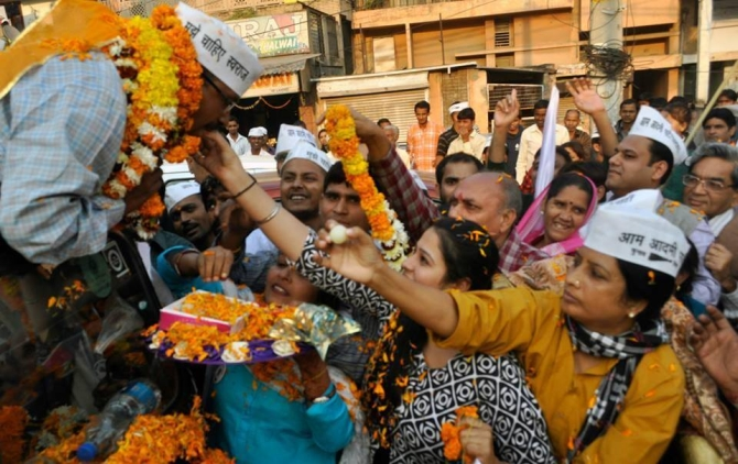Aam Aadmi Party celebrates in Delhi