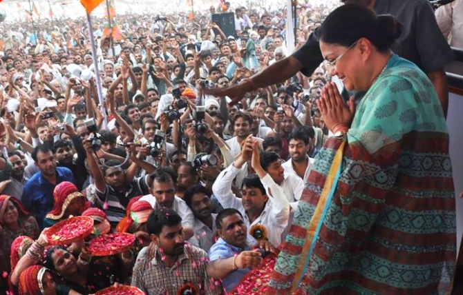 BJP's chief ministerial candidate Vasundhara Raje at a rally