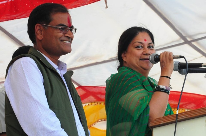 Vasundhara Raje speaks at a rally