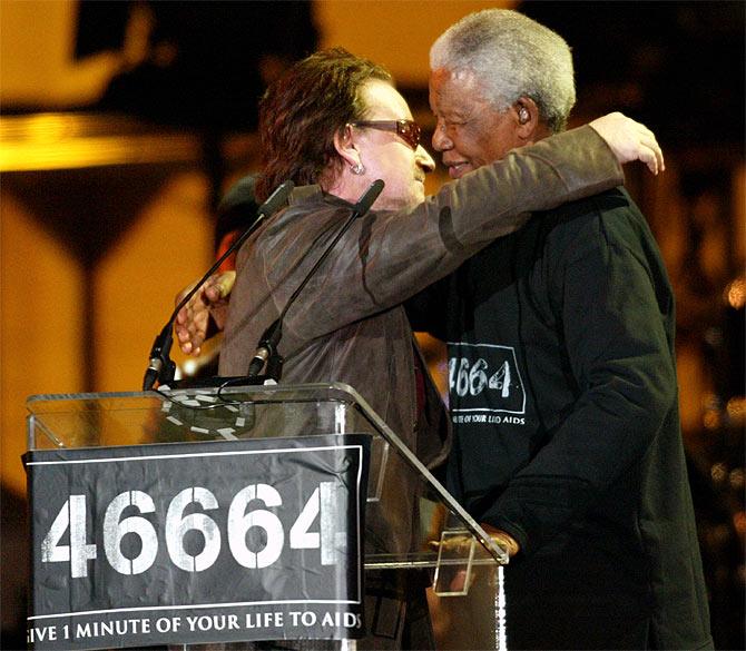 Nelson Mandela with singer Bono