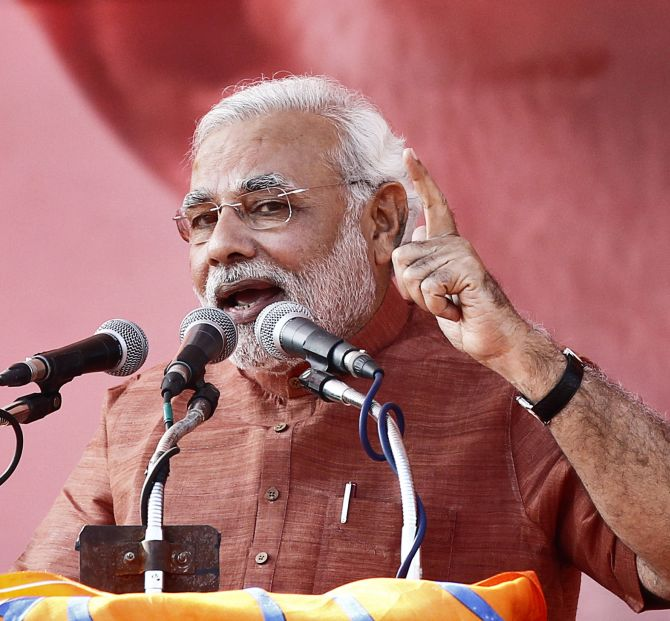 Narendra Modi addresses a campaign rally in New Delhi