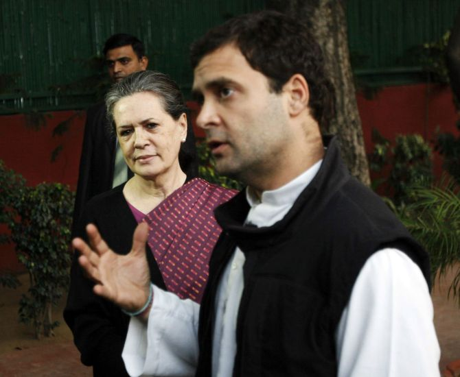Congress president Sonia Gandhi and vice president Rahul Gandhi interact with media following assembly polls debacle, in New Delhi on Monday