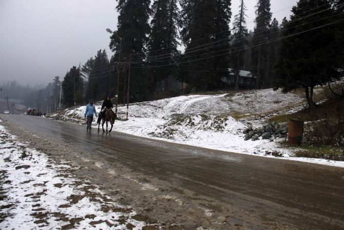The hill station of Gulmarg has received some snowfall this year