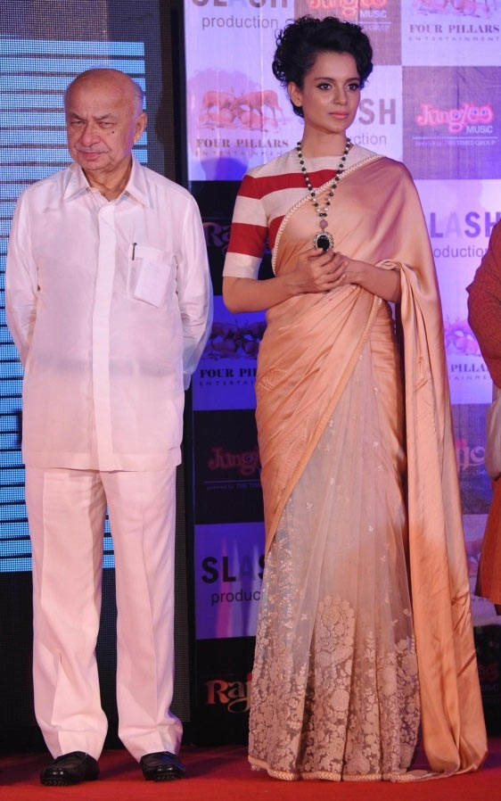 Home Minister Sushil Kumar Shinde with actress Kangana Ranaut at the music launch of 'Rajjo' in Mumbai