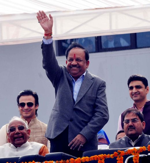 BJP's Delhi CM candidate Harsh Vardhan at the ceremony. Also seen is Bollywood actor and star campaigner Vivek Oberoi