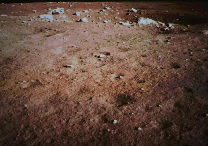 The rover's first image from the moon surface.