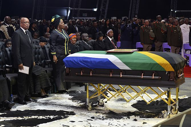 South African President Jacob Zuma attends the funeral ceremony of former South African President Nelson Mandela in Qunu