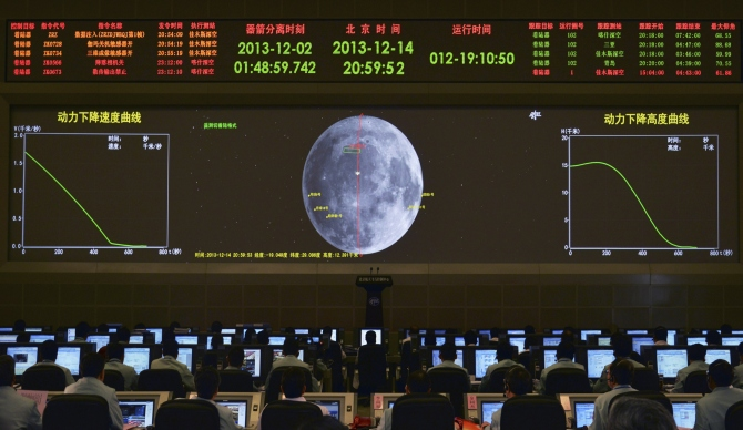 A giant electronic screen displays the mission operation information of China's Chang'e-3 lunar probe as researchers work at the Beijing Aerospace Control Center, in Beijing