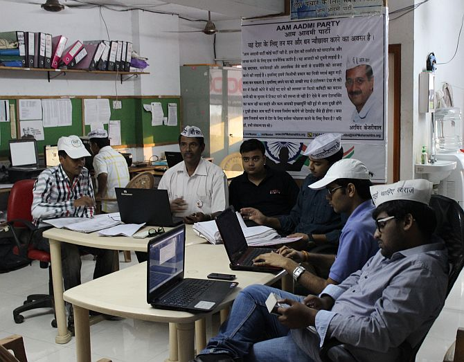 AAP activists at work in Mumbai.