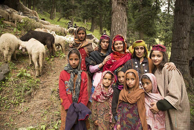 Actress Alia Bhatt with local women during the filming of Highway in Kashmir.