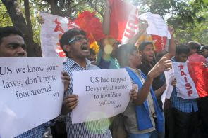 A protest outside the US consulate in Hyderabad over the Devyani Khobragade issue