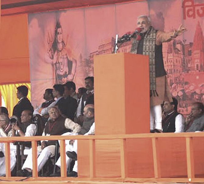 Narendra Modi addressing a rally in Varanasi ion Friday