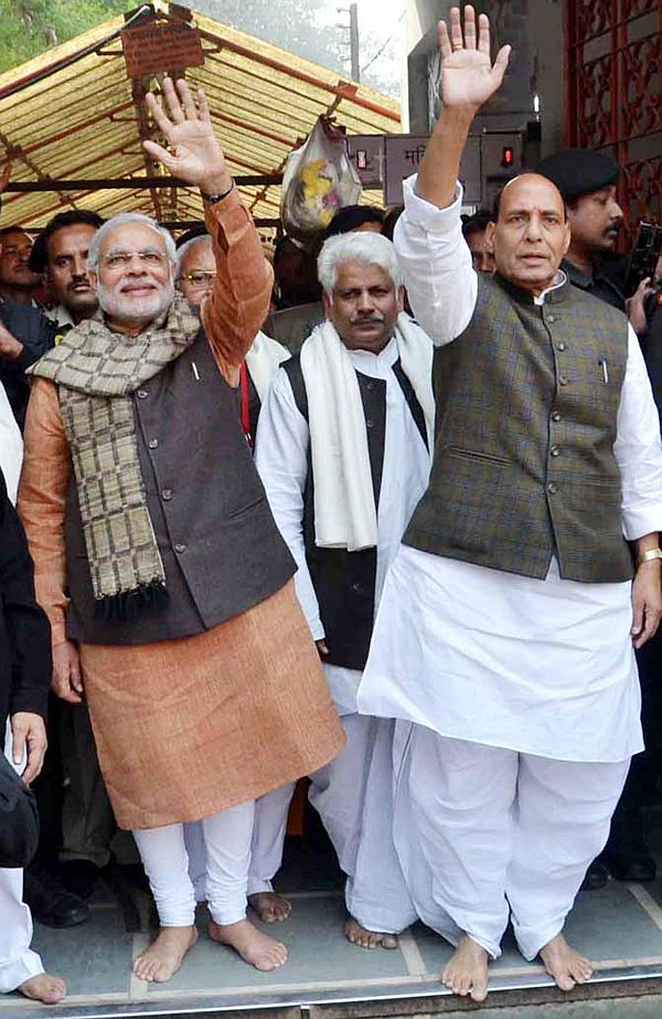 Will Narendra Modi, seen here with BJP President Rajnath Singh, be prime minister?