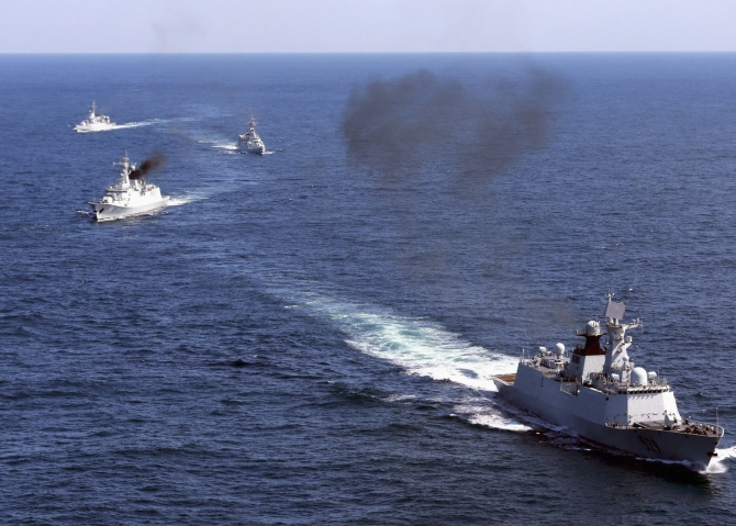 Chinese vessels roam the waters of East China Sea during a naval drill