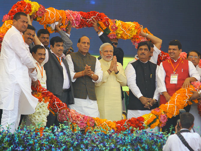 (from left) former BJP president Nitin Gadkari, BJP president Rajnath Singh and Gopinath Munde