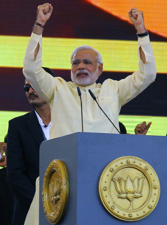 Gujarat CM Narendra Modi at a rally in Mumbai