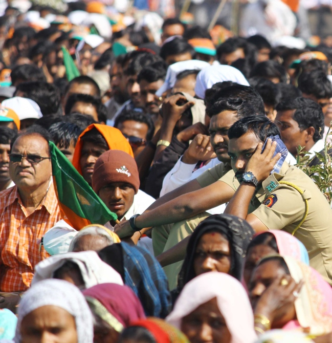The crowd at the rally in Bandra Kurla Complex in Mumbai