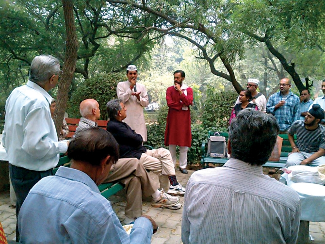 The AAP held town-hall-style meetings across Delhi.