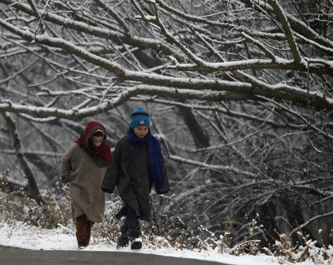 Kashmiri children walk under snow-covered trees in Srinagar